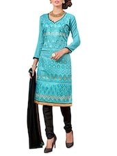 Black And Blue Embroidered Unstitched Suit Set - By