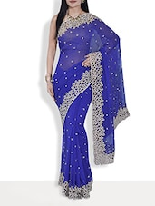 Royal Blue Embroidered Silk Georgette Saree - By