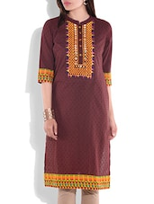 Coffee Brown Printed Quarter Sleeved Cotton Kurti - By