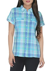 Blue Checkered Short Sleeved Cotton Shirt - By