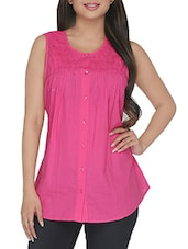 solid pink pleated sleeveless cotton shirt -  online shopping for Tops