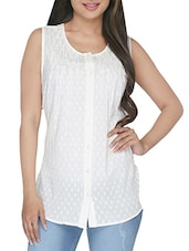 Solid White Pleated Sleeveless Cotton Shirt - By