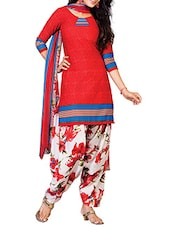 Red Crepe Printed Unstitched Patiala Suit Set - By