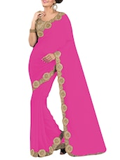 Pink Georgette Zari Bordered Saree - By