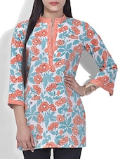 White Floral Block Printed Short Cotton Kurti - By