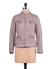 Taupe Textured Cotton Full-sleeved Jacket - By