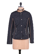 Solid Black Quilted Full-sleeved Jacket - By