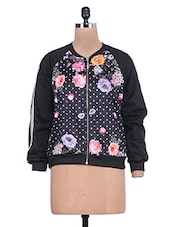 Black Floral Print Full-sleeved Jacket - By