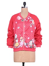 Red Floral Print Full-sleeved Jacket - By