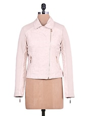 Solid Beige Textured Full-sleeved Jacket - By