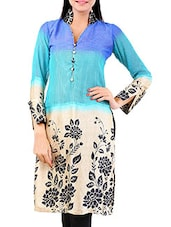 Multicolored Floral Printed Full Sleeved Kurta - By