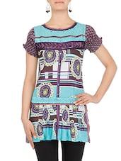 Blue And Purple Printed Sleeveless Cotton Kurti - By