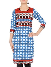 White And Blue Printed Crepe Kurta - By