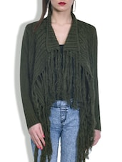 Olive Green Acrylic Asymmetrical Shrug - By