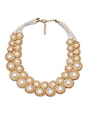 Gold And Cream Mother Of Pearl Embellished Necklace - By