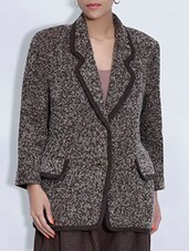 Brown And Off White Woolen Coat - By