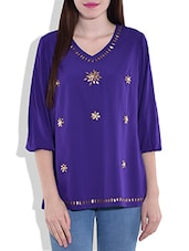 Purple Quarter Sleeved Top With Applique Details - By