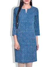Navy Blue Hand Block Printed Cotton Kurta - By