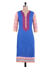 Dark Blue Printed Cotton Kurta With Embroidery - By