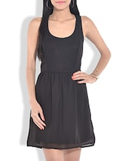 Solid Black Fit And Flare Dress - By