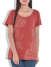 Orange Printed Knitted Cotton Top - By