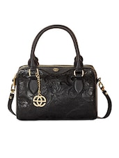 Black  Leather Floral Printed Handbag - By