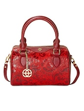 Red  Leather Floral Printed Handbag - By