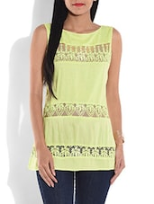 Lemon Yellow Rayon Top With Lace Work - By