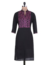 Black Cotton Kurti With Embroidered Yoke - By