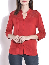 Maroon Cotton Pin Tuck Shirt - By