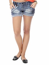 Blue Stone Washed Cotton Denim Hot Pants - By