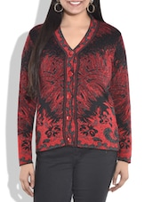 Red And Black Acrylic Cardigan - By