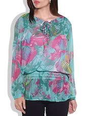 Multicolored Full Sleeved Floral Top - By