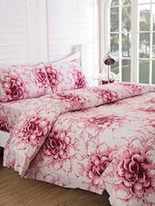 White floral printed cotton double bedsheet set of 3 -  online shopping for bed covers