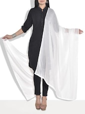 Solid White Cotton Dupatta - By
