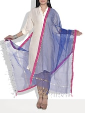 Blue Supernet Dupatta With Magenta Border - By
