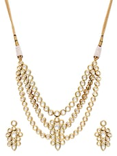 Gold and white embellished necklace and earrings set -  online shopping for Sets