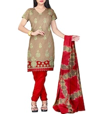 Beige Cotton Embroidered Unstitched Dress Material - By