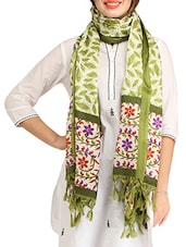 Cream And Olive Printed Blended Silk Dupatta - By