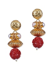 Red Drop Dangle Gold Plated Earring - By