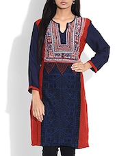 Blue Printed Full Sleeved Rayon Kurta - By