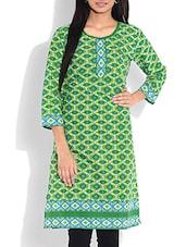 Green Printed Quarter Sleeved Cotton Kurta - By