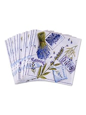 Set Of 20 White Printed Paper Napkins - By