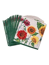 Set Of 20 White Floral Printed Paper Napkins - By