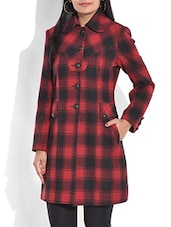 Red And Black Checkered Woollen Coat - By