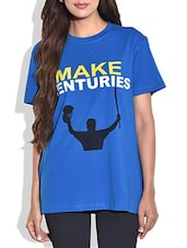Blue Cotton Knit Printed T-shirt - By