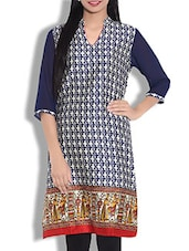 Navy Blue Printed Quarter Sleeved Cotton Kurta - By