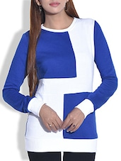 White And Blue Color Blocked Cotton Knit Sweatshirt - By