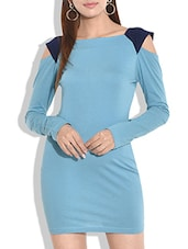 Light Blue Cotton Jersey Dress With Cutout Sleeves - By