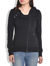Black hooded cotton knit jacket -  online shopping for jackets